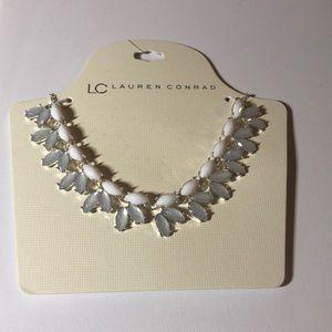 LC Lauren Conrad White Silver Statement Necklace